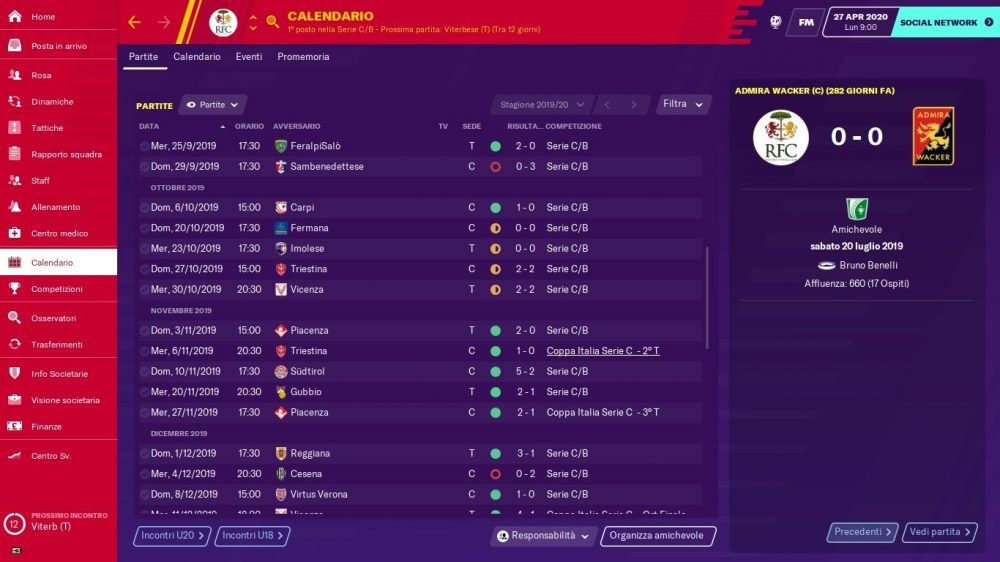 Calendario Ravenna 2019-2020 - stagione