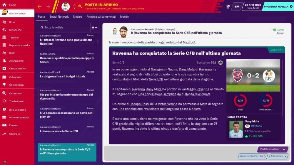 Ravenna 2019-2020 - Vittoria Ultima Giornata