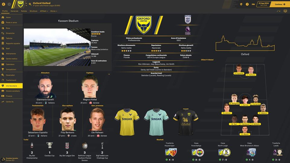 Oxford United Maglia Trasferta Stagione 6