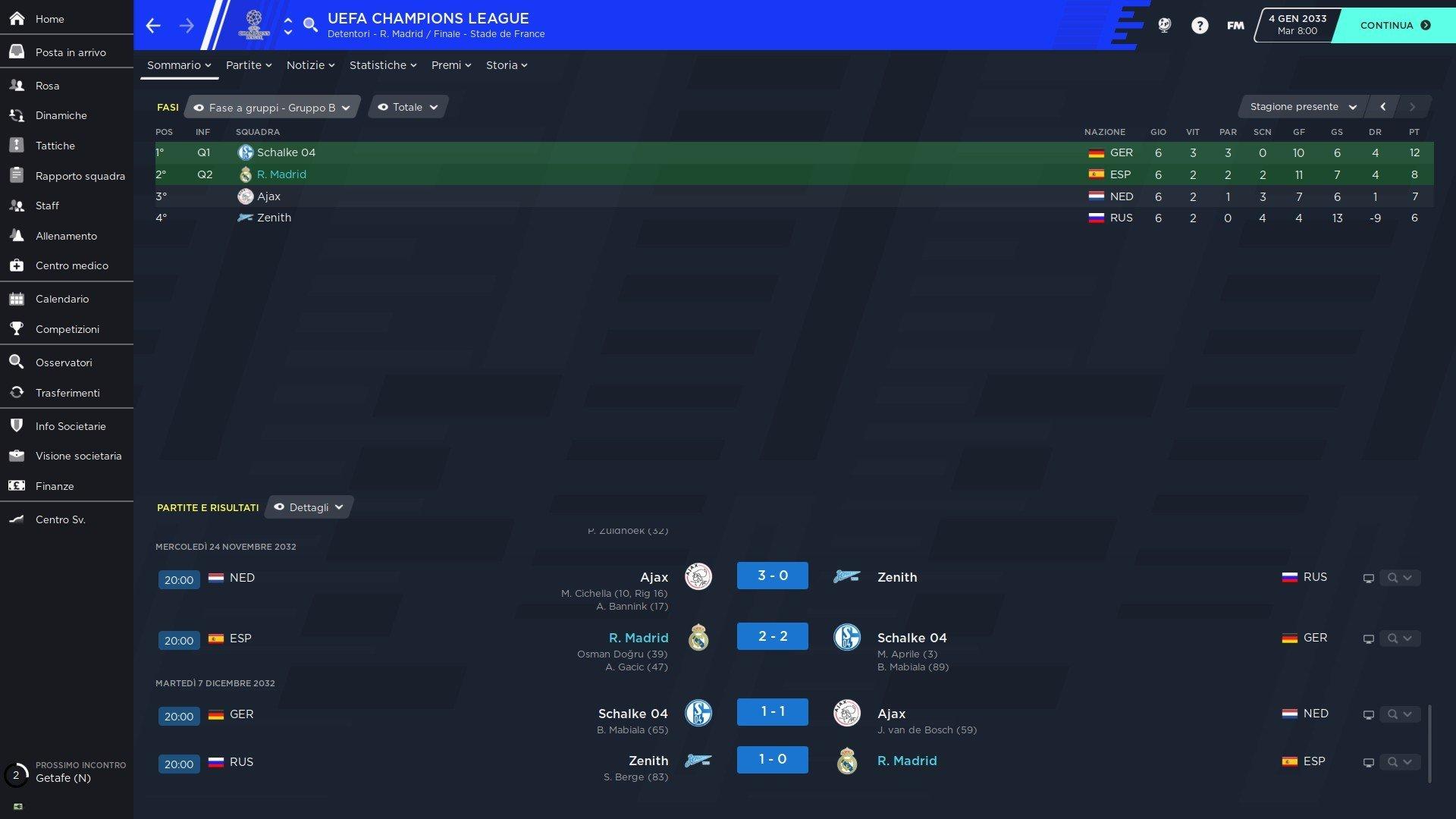 3 gironi champions
